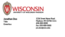 Full-color UW–Madison business card example