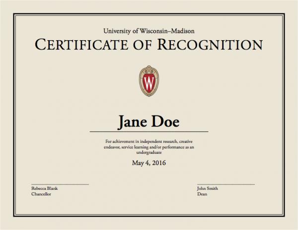 UW–Madison certificate samle