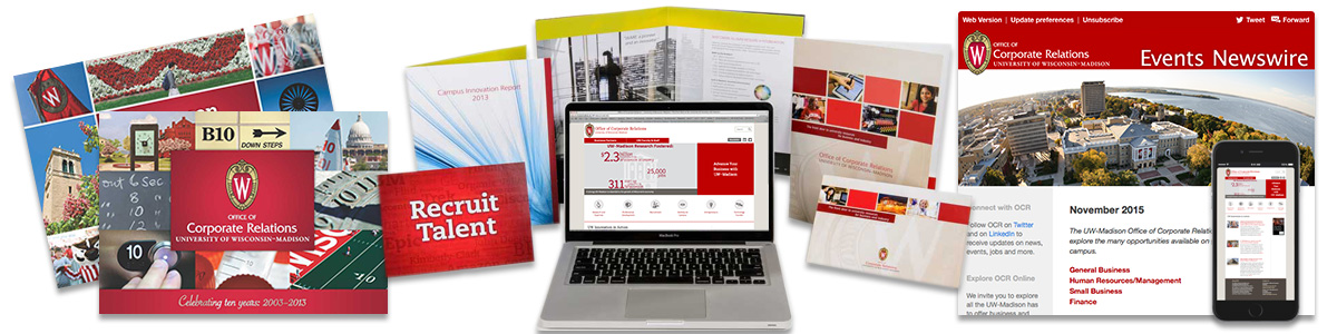 Collage of Corporate Relations materials